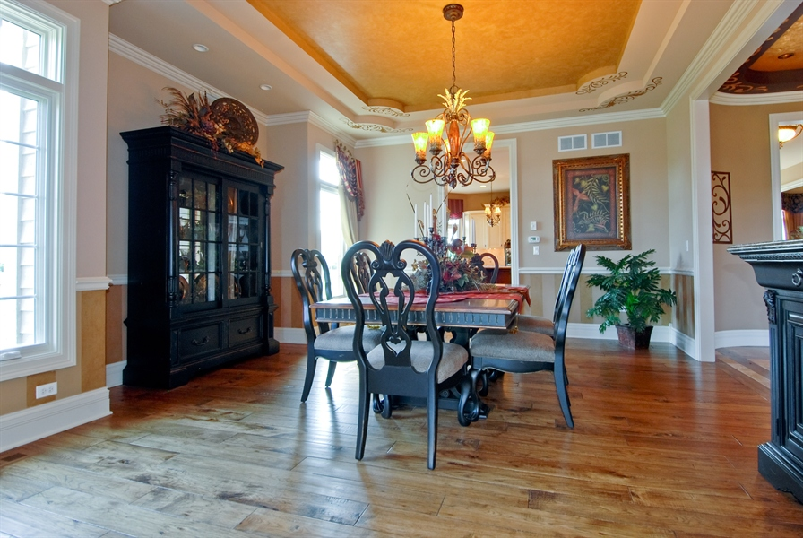 Real Estate Photography - 4508 Corktree, Naperville, IL, 60564 - Formal Dining Room with Hand Scraped Hickory Floor