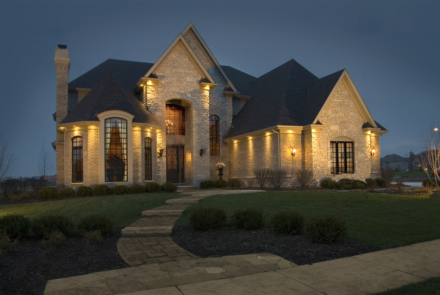 Real Estate Photography - 4508 Corktree, Naperville, IL, 60564 - Front Elevation as night when Builder Model (2007)