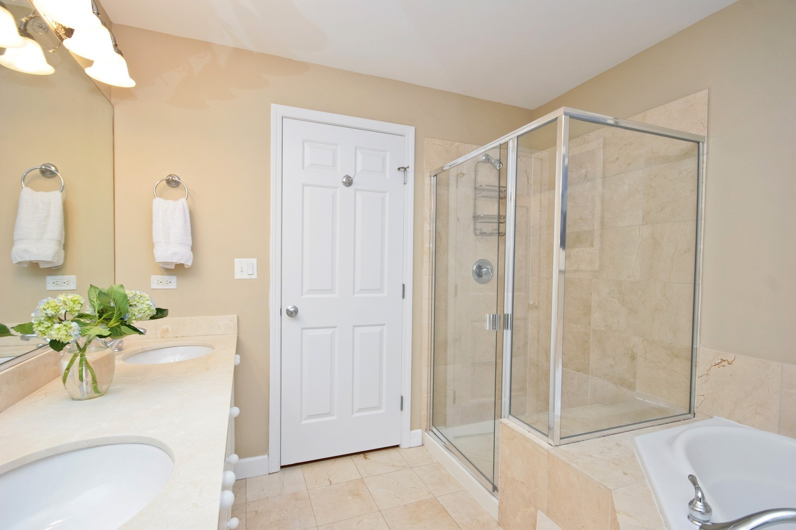 Real Estate Photography - 3705 N Paulina, Unit 3, Chicago, IL, 60613 - Oversized glass shower with bench, limestone floor