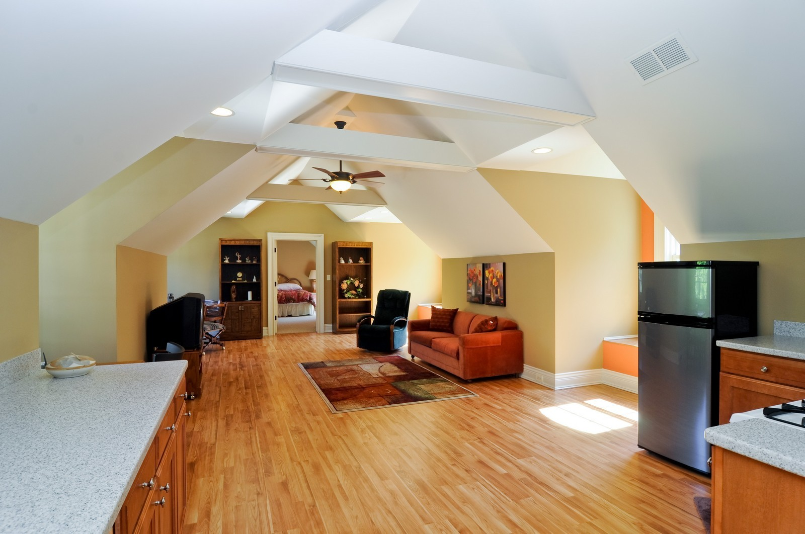 Real Estate Photography - 70 Dundee, Barrington Hills, IL, 60010 - Apartment Kitchen and Family Room
