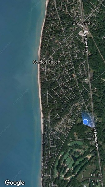 Real Estate Photography - 16670 Lakeshore Road, Union Pier, MI, 49129 - google view from beach