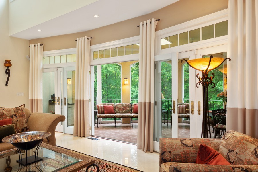 Real Estate Photography - 1048 Gambelli Dr, Yorktown Heights, NY, 10598 - Family Room French Doors opening to Veranda