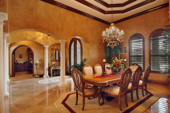 Real Estate Photography - 3755 Mullenhurst Dr, Palm Harbor, FL, 34685 - Formal Dining Room w/bold accents