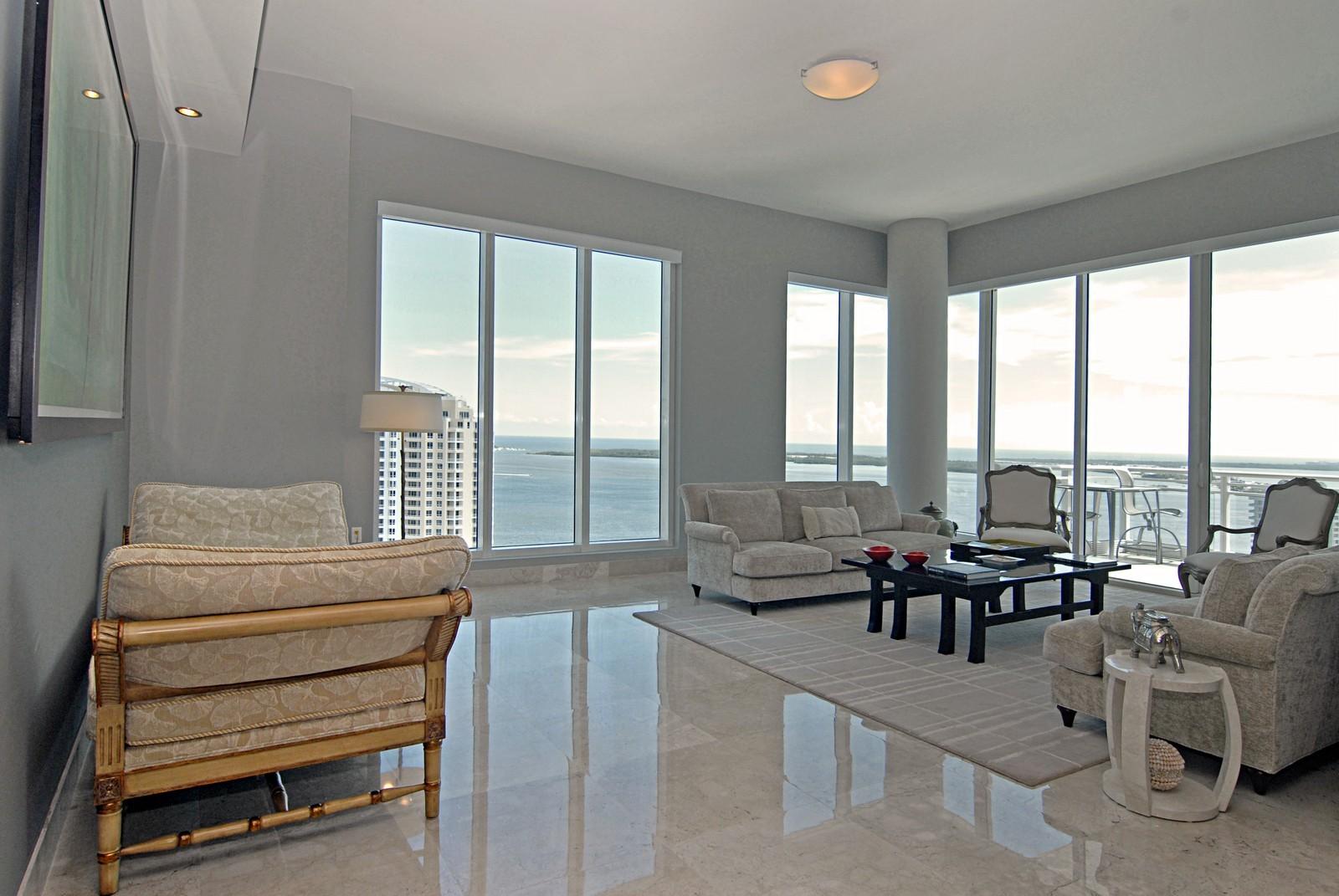 Real Estate Photography - 900 Brickell Key Blvd, Apt 3004, Miami, FL, 33131 - Living Room