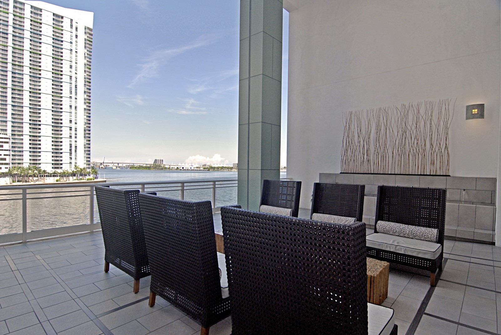 Real Estate Photography - 900 Brickell Key Blvd, Apt 3004, Miami, FL, 33131 - Lobby Terrace