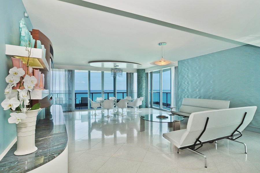 Real Estate Photography - 9401 Collins Ave, Unit 906, Surfside, FL, 33154 - Living Room / Dining Room