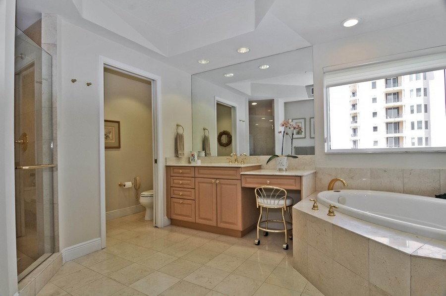 Real Estate Photography - 13627 Dearing Bay Dr, Unit 701, Coral Gables, FL, 33158 - Master Bathroom