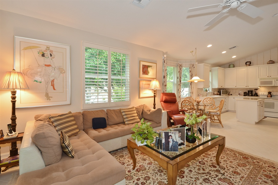 Real Estate Photography - 6190 Island Walk, Unit D, Boca Raton, FL, 33496 - Family Room / Kitchen