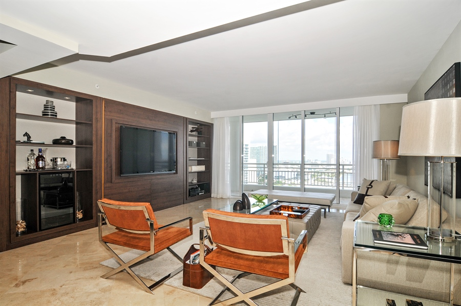 Real Estate Photography - 848 Brickell Key Dr, Unit 3806, Miami, FL, 33131 - Living Room