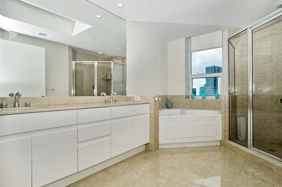 Real Estate Photography - 848 Brickell Key Dr, Unit 3806, Miami, FL, 33131 - Master Bathroom