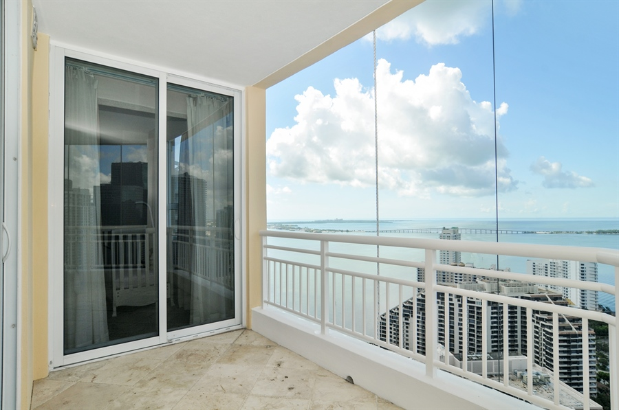 Real Estate Photography - 848 Brickell Key Dr, Unit 3806, Miami, FL, 33131 - Balcony