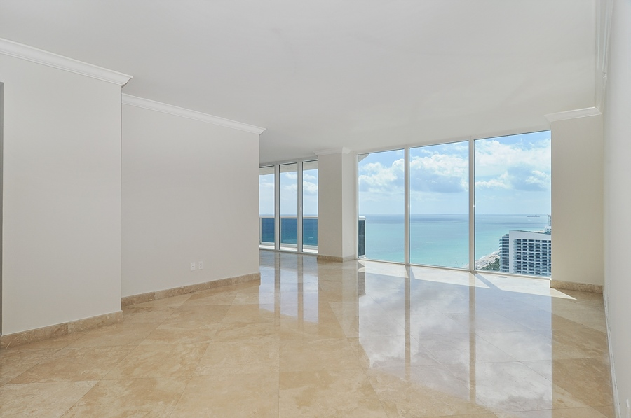 Real Estate Photography - 4775 Collins Ave, Unit 3103, Miami, FL, 33140 - Living Room / Dining Room