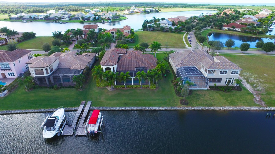 Real Estate Photography - 5417 Tybee Island Dr, Apollo Beach, FL, 33572 - Rear Aerial Views Lagoon