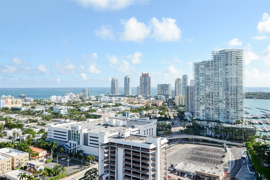 Real Estate Photography - 650 West Ave, Apt 2812, Miami Beach, FL, 33139 - South East View