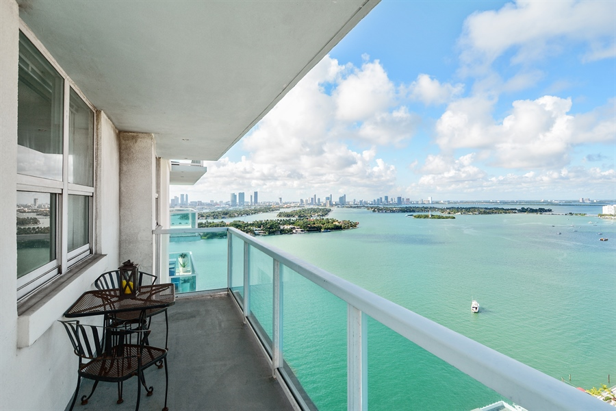 Real Estate Photography - 650 West Ave, Apt 2812, Miami Beach, FL, 33139 - North Balcony