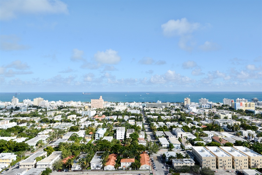 Real Estate Photography - 650 West Ave, Apt 2812, Miami Beach, FL, 33139 - East View