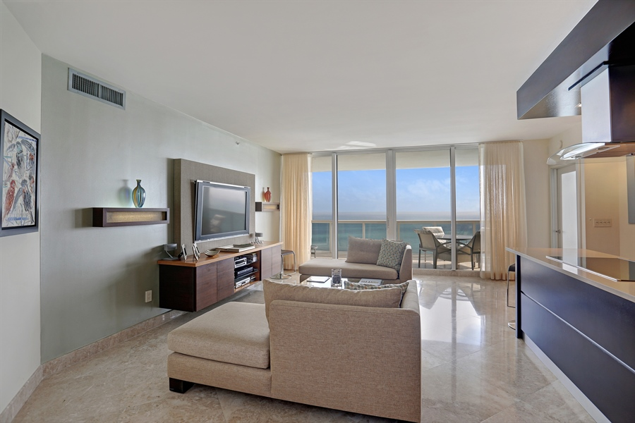Real Estate Photography - 4779 Collins Ave, Unit 3602, Miami Beach, FL, 33140 - Living Room