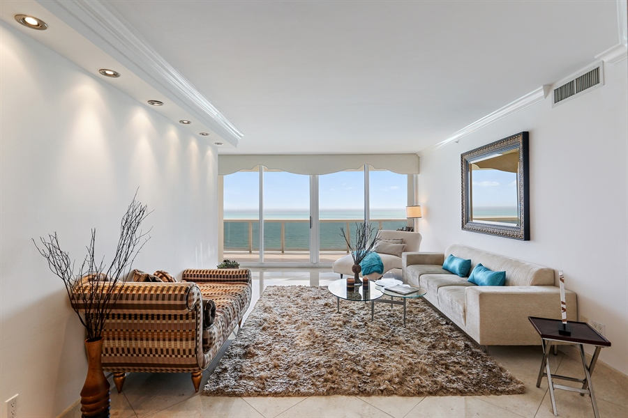 Real Estate Photography - 4775 Collins Ave, Unit 1802, Miami Beach, FL, 33140 - Living Room