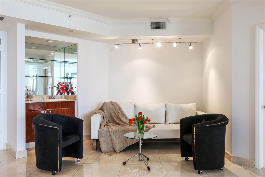 Real Estate Photography - 4775 Collins Ave, Unit 1802, Miami Beach, FL, 33140 - Sitting Room