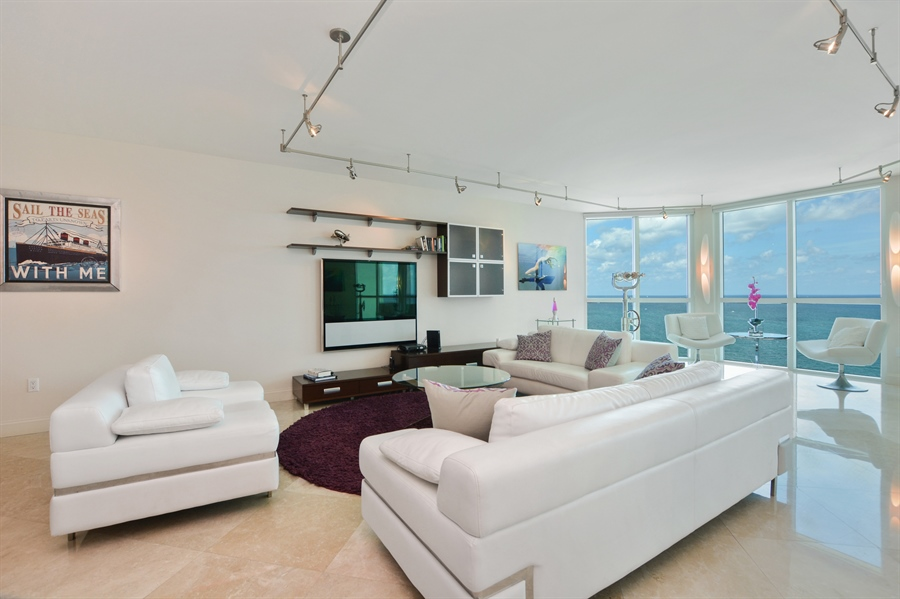 Real Estate Photography - 101 S Fort Lauderdale Beach Blvd, Unit 2002, Fort Lauderdale, FL, 33316 - Living Room
