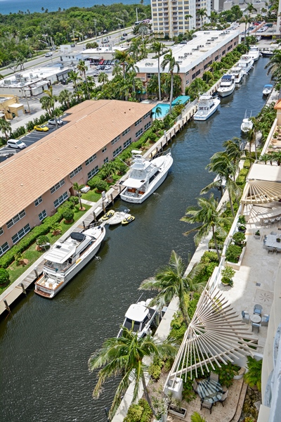 Real Estate Photography - 2845 NE 9th St, unit 1104, Fort Lauderdale, FL, 33304 - Marina Continued - Seabreeze Canal
