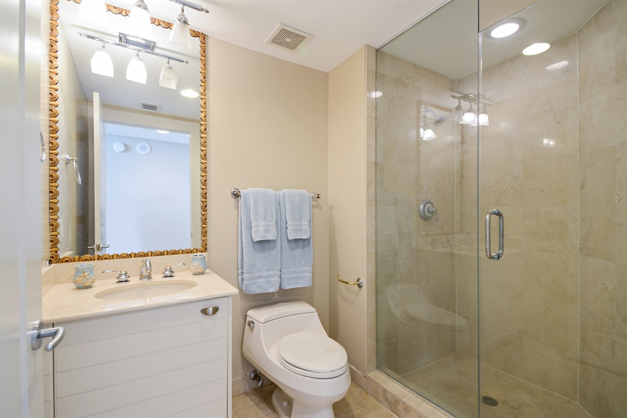 Real Estate Photography - 2845 NE 9th St, unit 1104, Fort Lauderdale, FL, 33304 - Ensuite Bath for Bedroom #2
