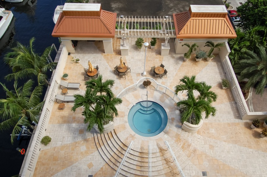 Real Estate Photography - 2845 NE 9th St, unit 1104, Fort Lauderdale, FL, 33304 - Hot Tub - BBQ Area (Aerial View)
