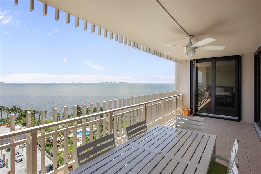 Real Estate Photography - 1 Grove Isle Dr, A1207, Coconut Grove, FL, 33133 - Balcony
