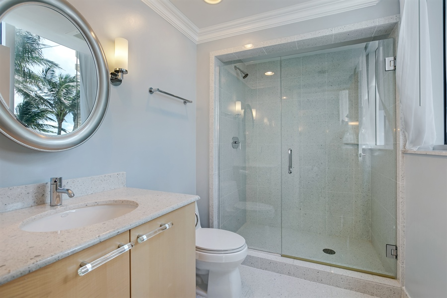 Real Estate Photography - 3801 Collins Ave, Unit 501, Miami Beach, FL, 33140 - Master Bathroom