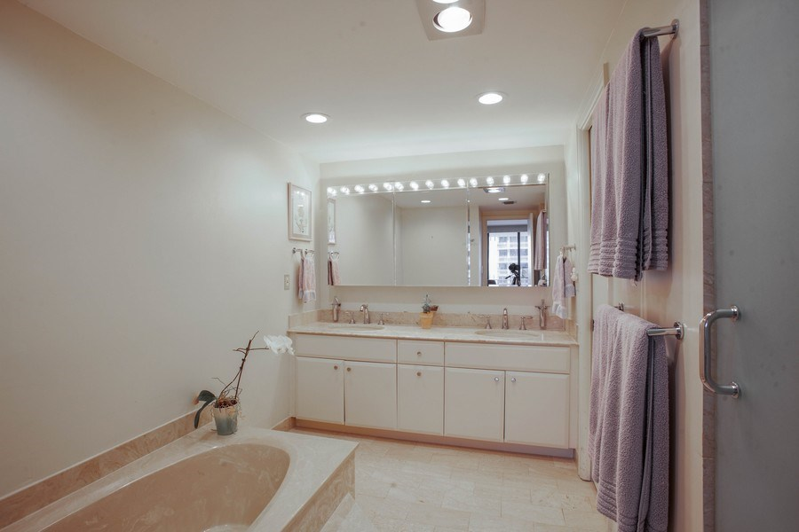 Real Estate Photography - 3 Grove Isle Dr, C1402, Miami, FL, 33133 - Master Bathroom