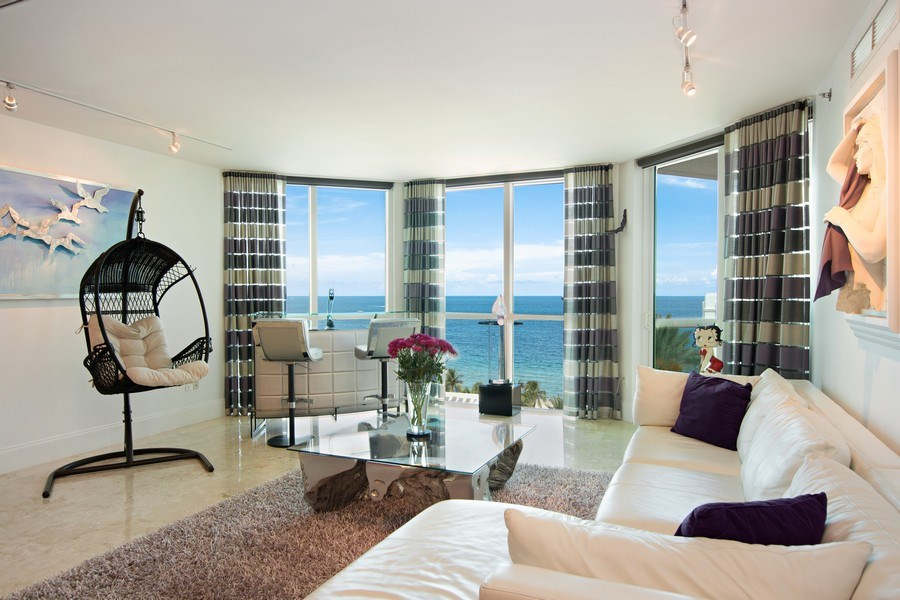 Real Estate Photography - 101. S FORT LAUDERDALE BEACH BLVD #1002, APT 1002, FORT LAUDERDALE, FL, 33065 - Living Room