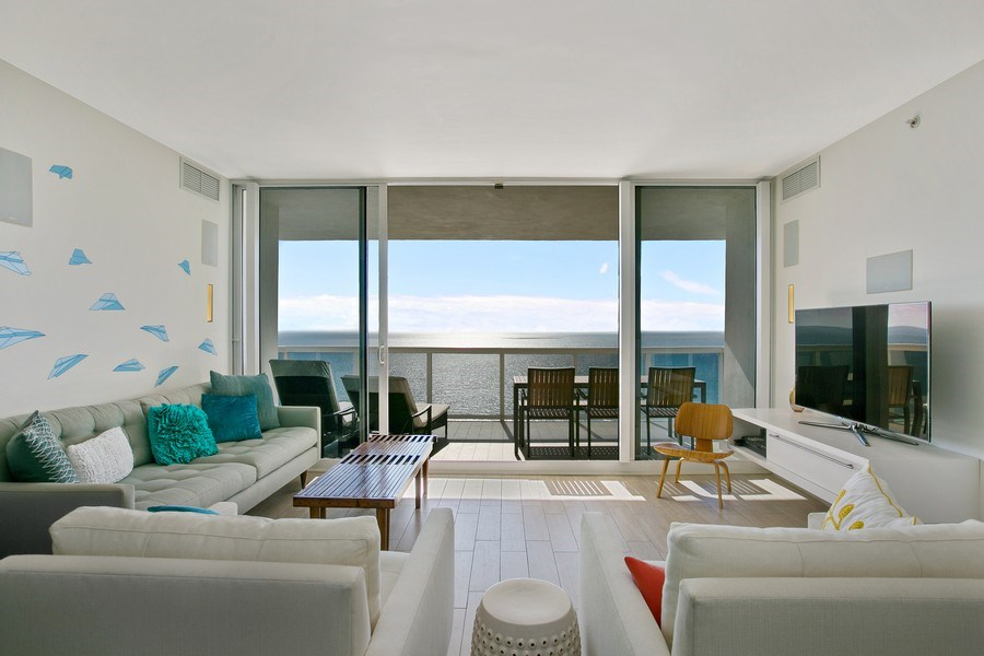 Real Estate Photography - 4775 Collins Ave, 2102, Miami Beach, FL, 33140 - Living Room