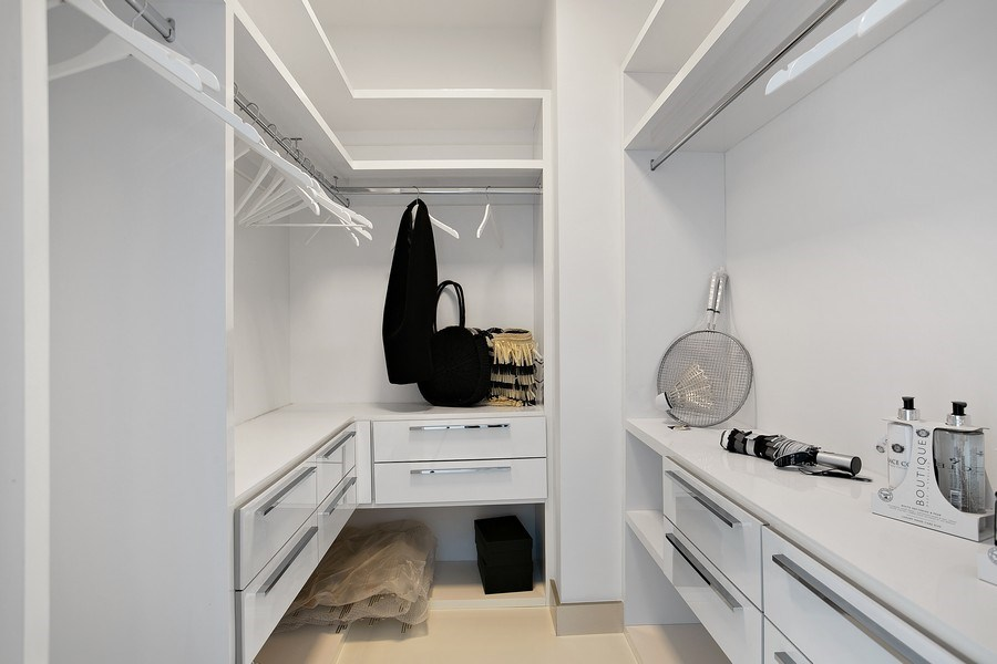 Real Estate Photography - 4775 Collins Ave, 3002, Miami Beach, FL, 33140 - Master Bedroom Closet