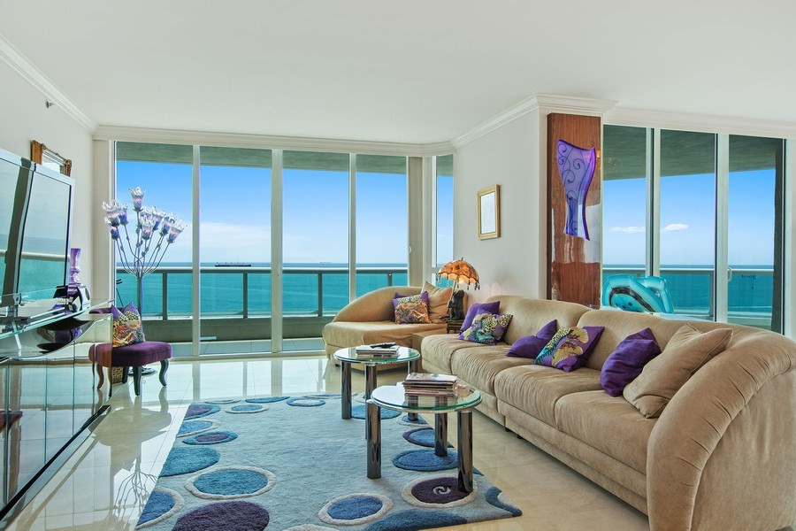 Real Estate Photography - 101 S Fort Lauderdale Beach Blvd, 1201, Fort Lauderdale, FL, 33316 - Living Room