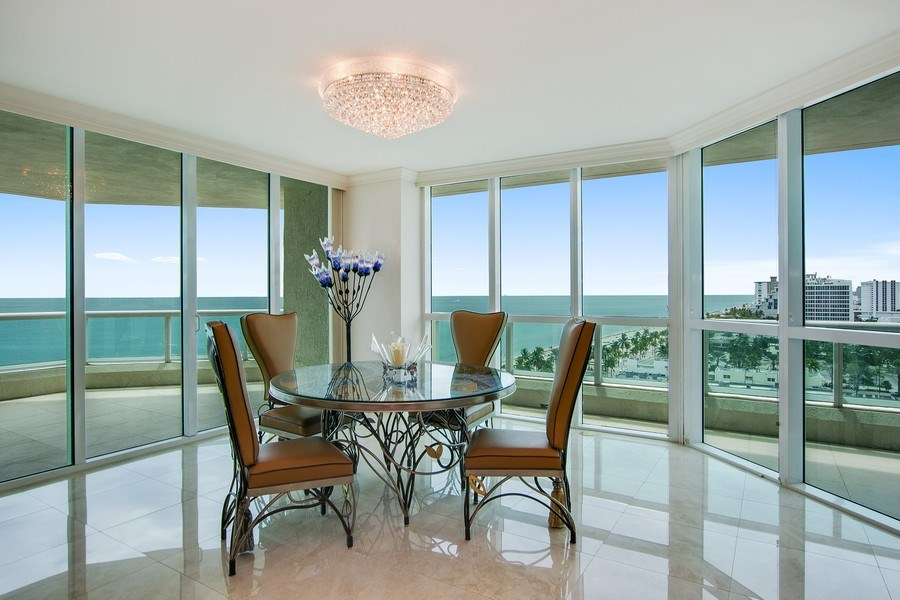 Real Estate Photography - 101 S Fort Lauderdale Beach Blvd, 1201, Fort Lauderdale, FL, 33316 - Dining Room