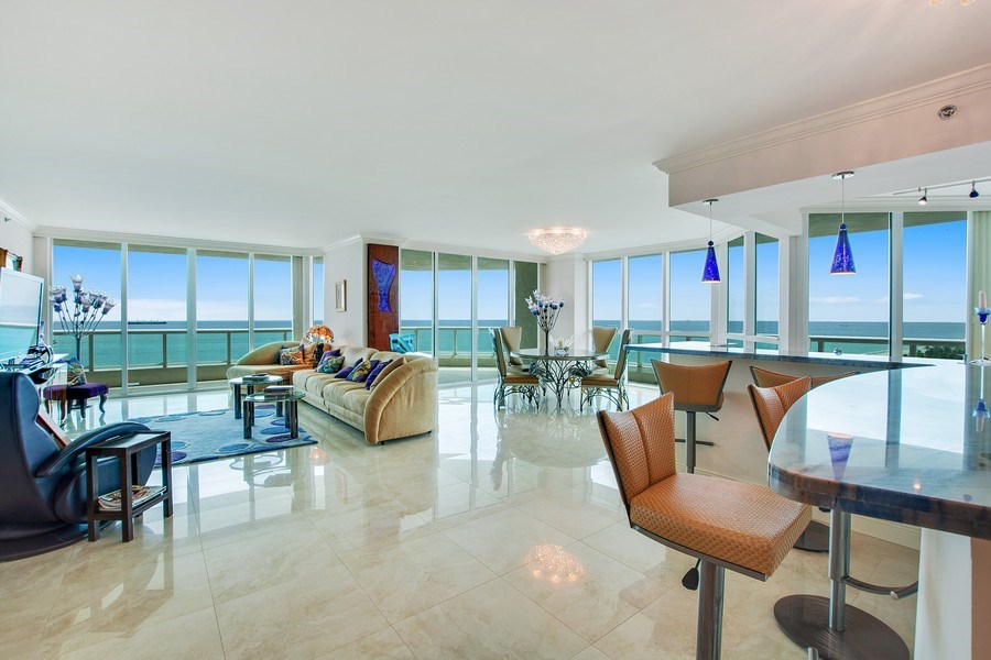Real Estate Photography - 101 S Fort Lauderdale Beach Blvd, 1201, Fort Lauderdale, FL, 33316 - Great Room