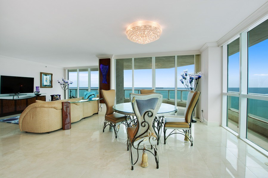 Real Estate Photography - 101 S Fort Lauderdale Beach Blvd, 1201, Fort Lauderdale, FL, 33316 - Living Room / Dining Room