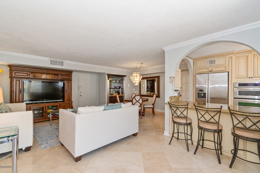 Real Estate Photography - 1238 Hillsboro Mile, Unit 307, Hillsboro Beach, FL, 33062 - Kitchen / Living Room