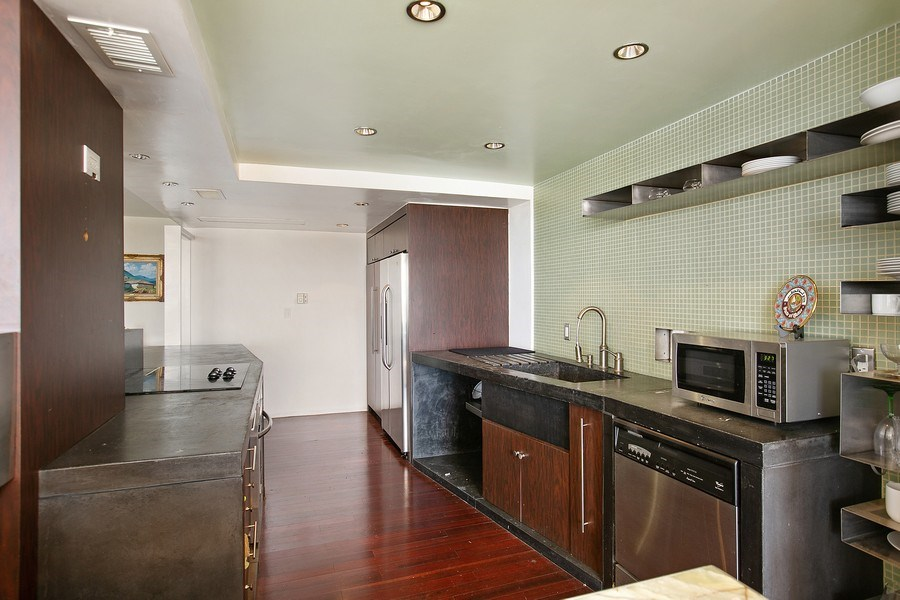 Real Estate Photography - 5700 Collins Ave, Unit 5L, Miami Beach, FL, 33140 - Kitchen