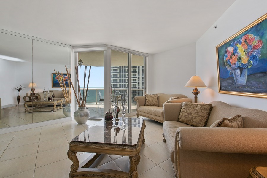 Real Estate Photography - 4779 Collins Ave, Apt 1904, Miami Beach, FL, 33140 - Living Room
