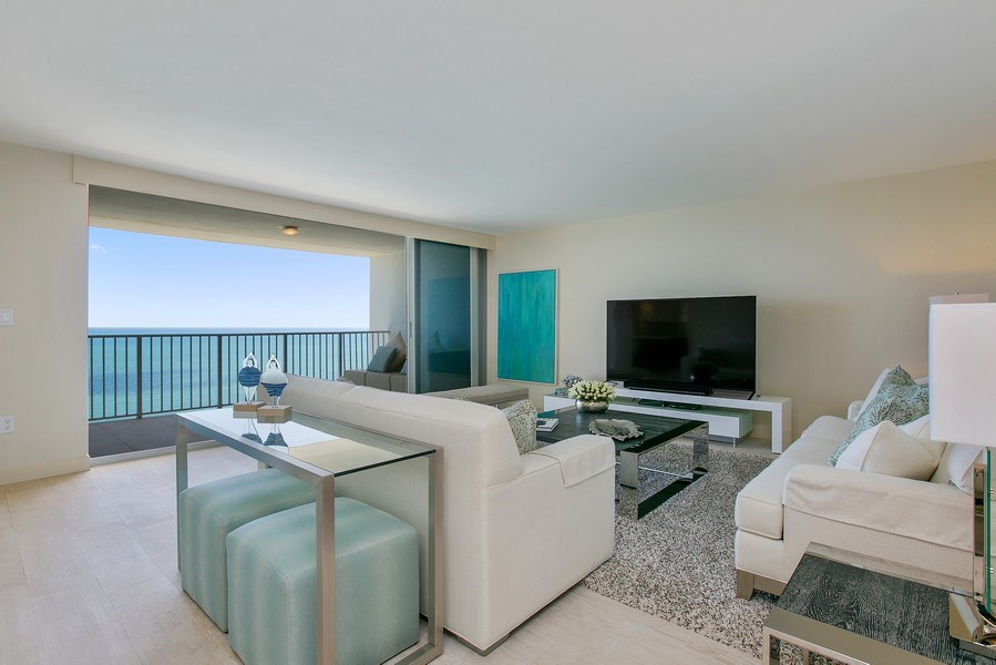Real Estate Photography - 881 Ocean Dr, Penthouse 27E, Key Biscayne, FL, 33149 - Living Room