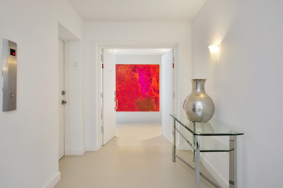 Real Estate Photography - 881 Ocean Dr, Penthouse 27E, Key Biscayne, FL, 33149 - ENTRANCE FROM ELEVATOR