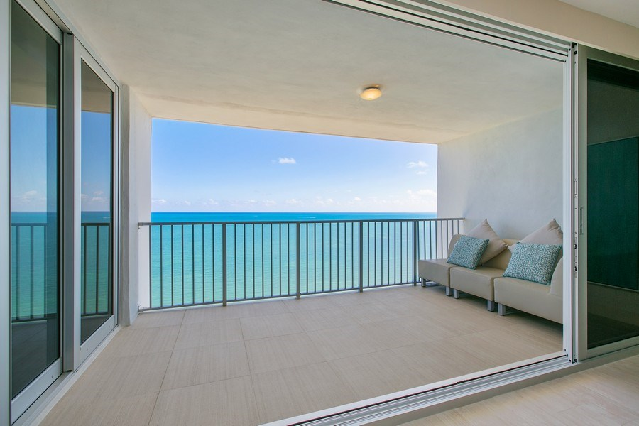Real Estate Photography - 881 Ocean Dr, Penthouse 27E, Key Biscayne, FL, 33149 - SPACIOUS PRIVATE BALCONY