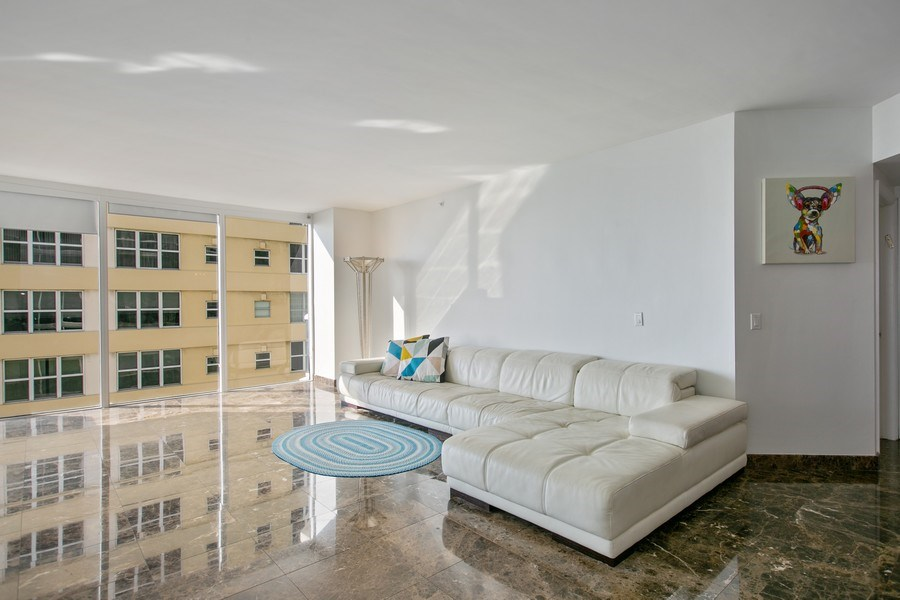 Real Estate Photography - 4775 Collins Ave, Unit 703, MIami Beach, FL, 33140 - Living Room