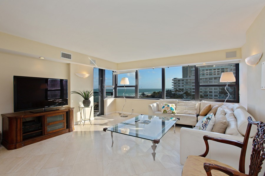 Real Estate Photography - 5225 Collins Ave, Unit 801, Miami Beach, FL, 33140 - Living Room