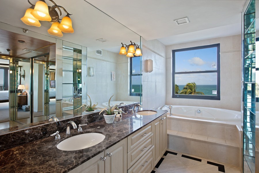 Real Estate Photography - 5225 Collins Ave, Unit 801, Miami Beach, FL, 33140 - Master Bathroom