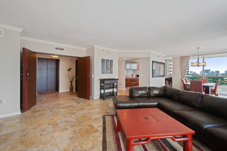 Real Estate Photography - 101 S. Fort Lauderdale Beach Blvd Apt. 1406, Fort Lauderdale, FL, 33316 - Living Room