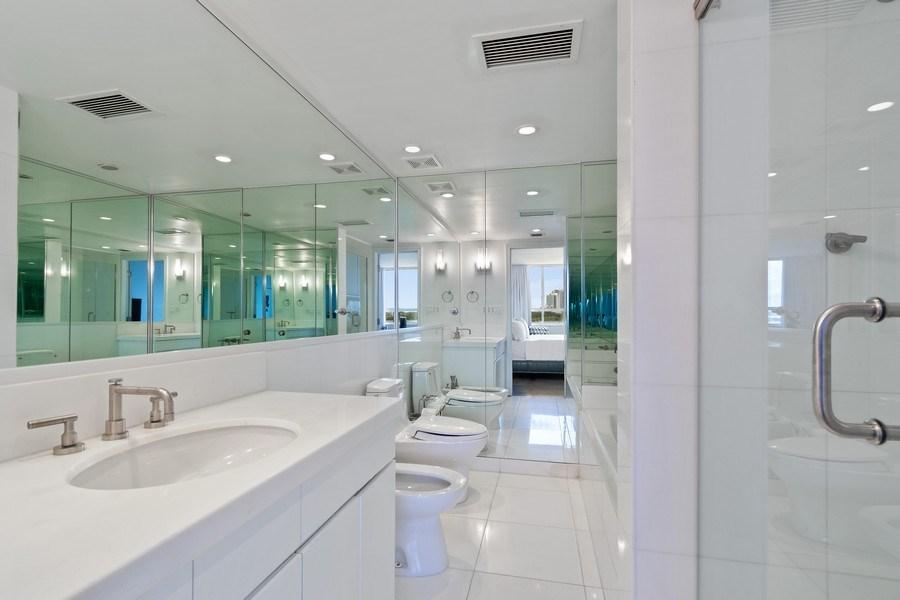 Real Estate Photography - 1 Grove Isle Dr, Unit# A306, Miami, FL, 33133 - Master Bathroom
