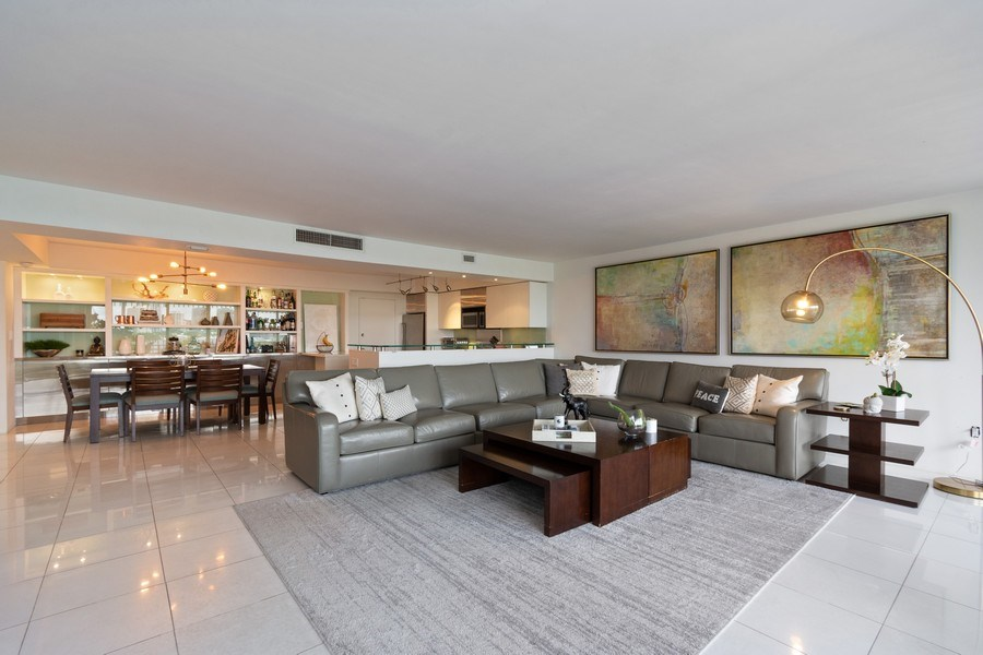 Real Estate Photography - 1 Grove Isle Dr, Unit# A306, Miami, FL, 33133 - Kitchen / Living Room