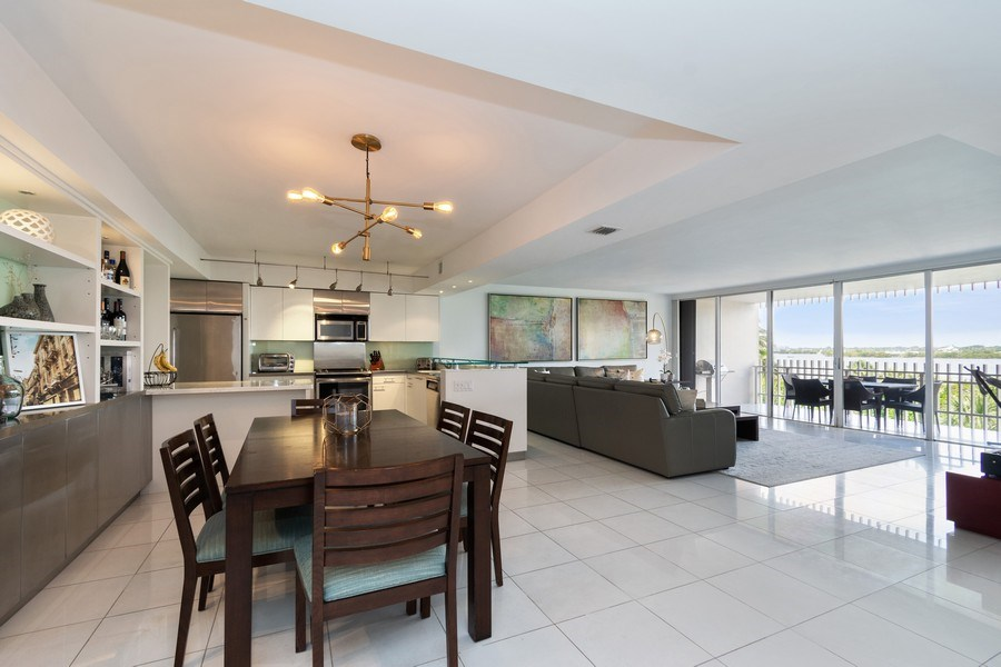 Real Estate Photography - 1 Grove Isle Dr, Unit# A306, Miami, FL, 33133 - Living Room / Dining Room
